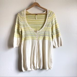 Free People yellow knit cardigan blouse
